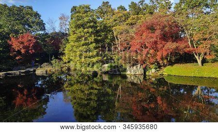 Koko-en Garden At Himeji Of Japan. Koko-en Is A Japanese Garden Located Next To Himeji Castle