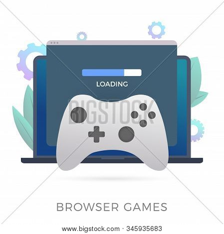 Browser Games Flat Vector Icon. A Laptop With An Open Browser Window In Which The Game Loads. The Co