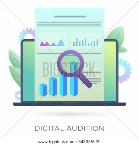 Digital Audition Vector Icon Concept With Financial Data Analysis, Seo Analytics And Marketing Resea