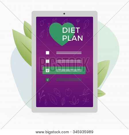 Diet Plan Checklist With Checkmarks And Fruits, Vegetables And Leaves Icons On The Tablet Pc Mobile