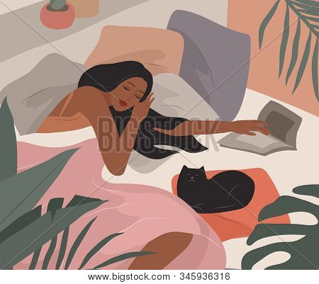 Cute Girl Sleeping In Bed After She Read Book. Feminine Style. Daily Life By Young Woman In Bedroom