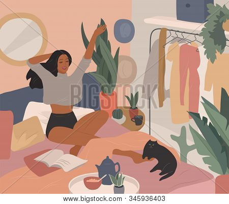 Happy Cute Girl Have Breakfast In The Morning In Bed, Read The Newspaper And Resting With Cat. Femin