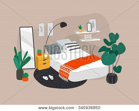 Scandinavian Or Nordic Style Bedroom Interior. Hand Drawing In Scandinavian, Style Cozy Interior Wit