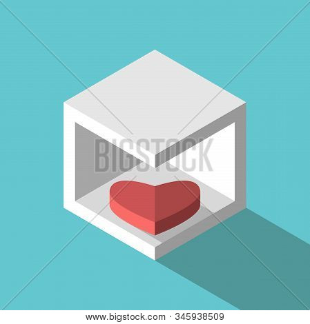 Introvert Heart Lying In Box. Introversion, Temper, Relationship, Love, Psychology And Fidelity Conc