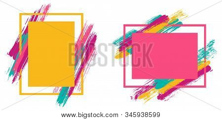 Vintage Frames With Paint Brush Strokes Vector Set. Box Borders With Painted Brushstrokes Background