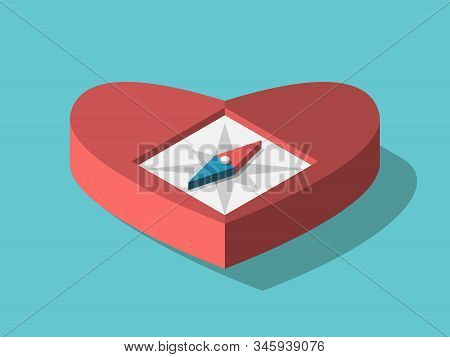 Isometric Heart Shaped Compass On Turquoise Blue. Intuition, Emotion, Feeling, Dream, Romance, Love