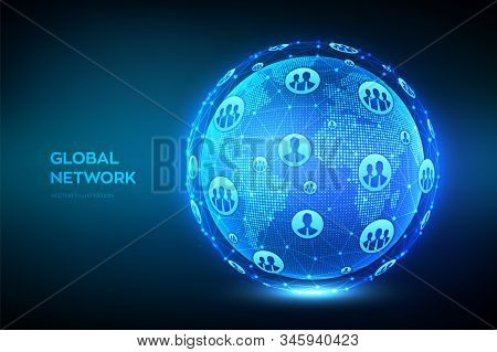 Global Network Connection. World Map Point And Line Composition. Earth Globe. Concept Of Global Busi