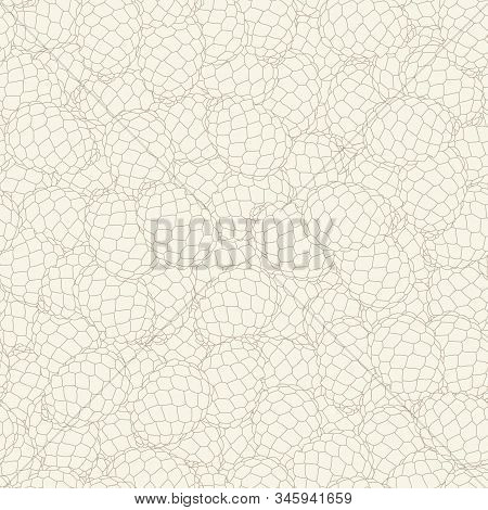 Vector Brown Pinecones Line Art Texture On Beige Background Seamless Repeat Pattern. Background For