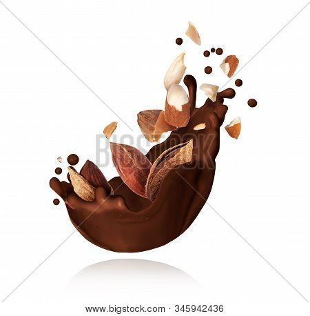 Splash Of Melted Chocolate With Crushed Almonds Closeup On White Background