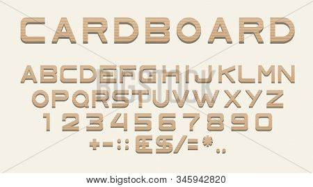 Cardboard Font Alphabet, Numbers And Punctuation, Sans Serif Characters Of Carton Paper Box Texture.