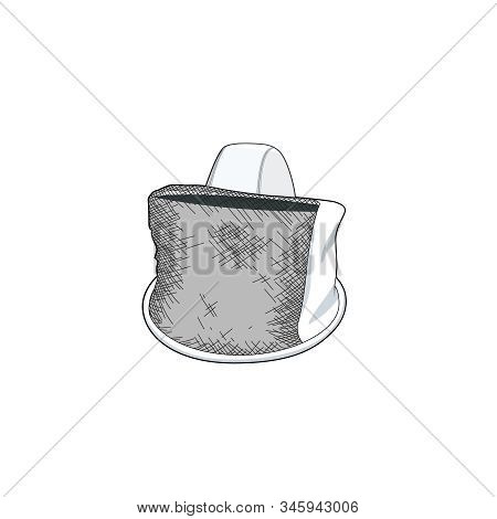 Bee Keeper Uniform. Honey Bee Farm Equipment. Head Protection For Bee Keeper. Vector Illustration Be
