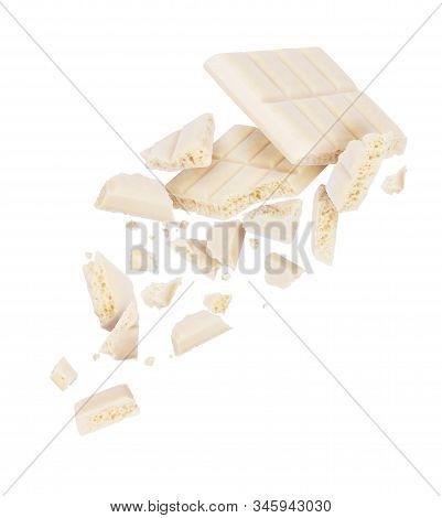 Broken Porous White Chocolate Fall Down, Isolated On White Background