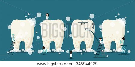 Group Of Small Dentists Are Caring For A Large Tooth. Dental Personage Vector Illustration. Illustra