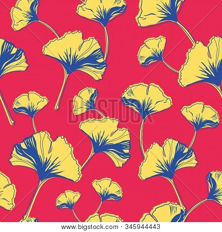 Vector Seamless Pattern Ginko Wax With Yellow, Blue Ginkgo Leaves