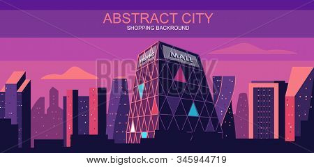 Vector Illustration In Simple Flat Style - City Skyline With Mall, Department Store - Abstract Consu
