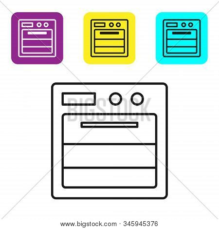 Black Line Oven Icon Isolated On White Background. Stove Gas Oven Sign. Set Icons Colorful Square Bu