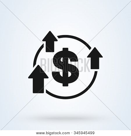 Increase Boost And Heighten Greenback Dollar Icon. Vector Simple Modern  Design Illustration.