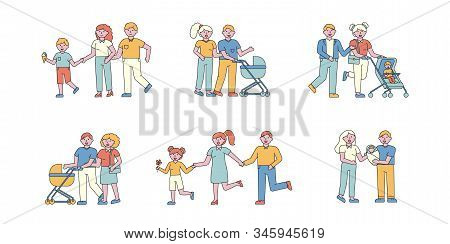Family Pastime Flat Charers Set. People Walking Outdoors Cartoon Illustrations Pack. Parents And Kid