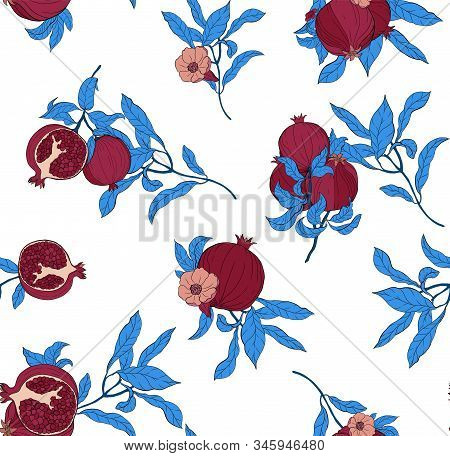 Vector Seamless Pattern With Pomegranate Fruits And Seeds On White Background. Design For Cosmetics,