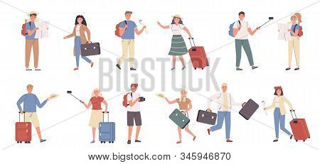 Tourists, Male And Female Travelers Flat Vector Illustrations Set. Travelling, Excursion, Sightseein