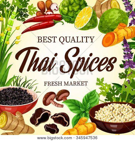 Thai Cooking , Herbs And Asian Cuisine Herbal Seasonings, Farm Market Poster. Thai Food Flavorings,