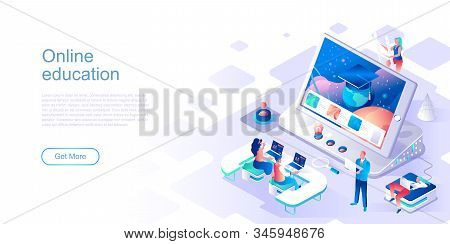 Online Education Landing Page Vector Template. Distant Academic Class Website Header Ui Layout With