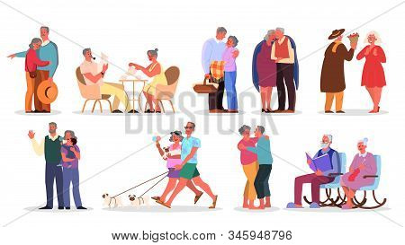 Old Couple Set. Elderly People Spend Time Together And With Family.