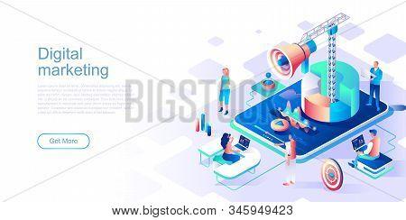 Digital Marketing Landing Page Vector Template. Target Advertising Content Website Header Ui Layout