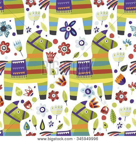 Traditional Mexican Party Symbol. Pinata Vector Flat Seamless Pattern With Flowers. Cinco De Mayo Ce
