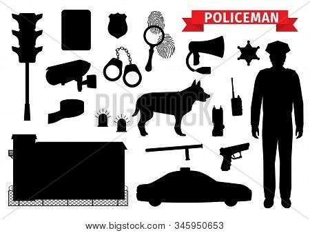 Policeman Equipment Tools, Silhouette Icons. Vector Isolated Police Officer Gun And Sheriff Star Bad
