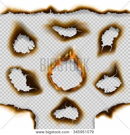 Burnt Paper Holes And Scorched Page Edges 3d Vector Design With Realistic Fire Flames On Transparent