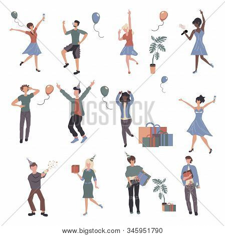 Cheerful People At Party Cartoon Characters Set. Young Adults Having Fun Flat Vector Illustrations P