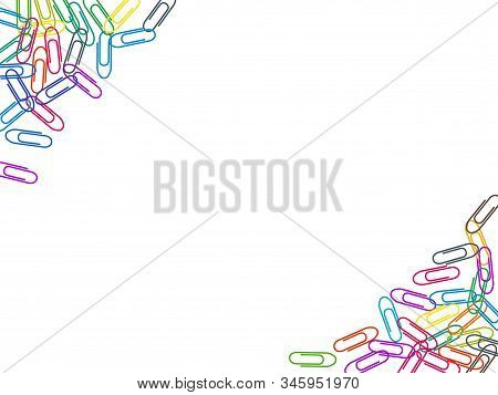 Clerical Colorful Paper Clips Isolated On White Vector Background. Rainbow Colors And Metal Papercli
