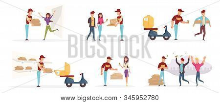 Pizzeria Workers And Customers Characters Set. Couriers Delivering Tasty Pizza Flat Vector Illustrat