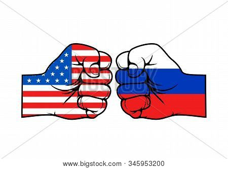 Usa And Russia Conflict Vector Concept, Two Fists In Colors Of American And Russian Federation Flags