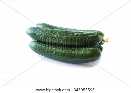 Fresh Cucumbers Isolated On White Background. Design Element For Product Label. Design Image Of Fres