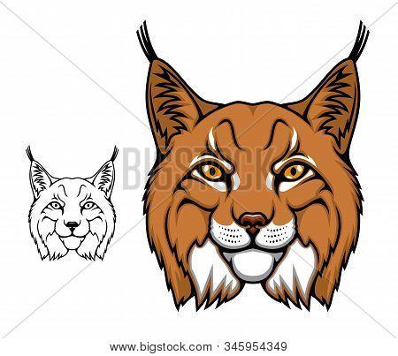 Lynx Animal Head Vector Cartoon Mascot, Wild Bobcat. Wildcat Lynx Icon, Hunting Sport Club Or Footba