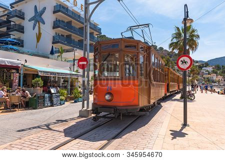 Mallorca, Spain - May 7, 2019: Electric Tram Running At The Port Of Soller.