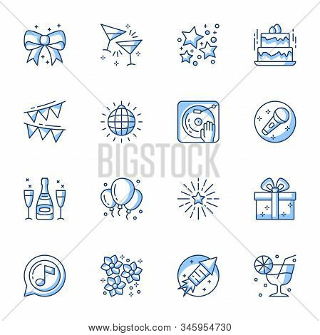 Party Linear Icons Set. Entertainment And Recreation Contour Symbols Isolated Pack. Karaoke, Disco,