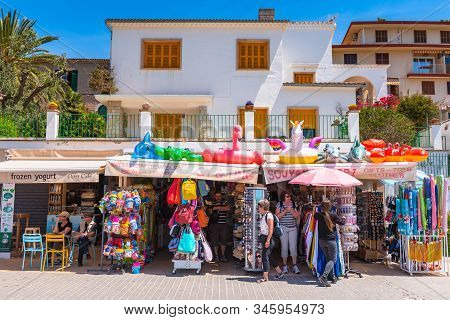 Mallorca, Spain - May 7, 2019: Souvenir Stand In The Port De Soller, A Popular Family Resort Of Mall