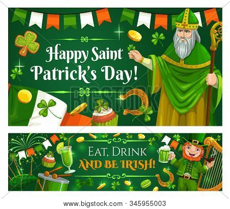 Saint Patrick Day, Happy Irish Celtic Holiday Celebration. Vector St Patrick Paddy Man, Leprechaun W