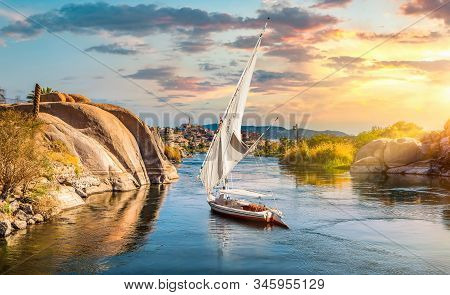 The River Nile In Egypt. Aswan Africa