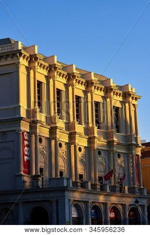 Madrid, Spain - January 10, 2020. West Facade Of The Royal Theatre (teatro Real Or Simply El Real) A