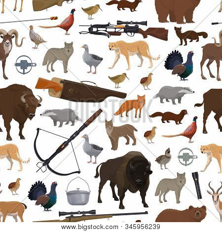 Birds, Animals And Hunting Sport Equipment Seamless Pattern. Vector Shooting Weapon, Crossbow And Gu