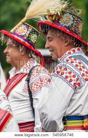 Romania, Timisoara - July 4, 2019: Dancers Men From Romania In Traditional Costume, Present At The I