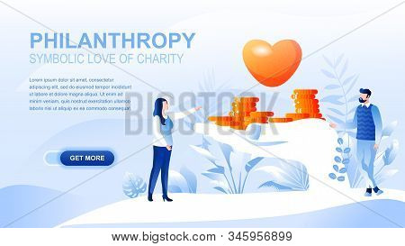 Philanthropy Flat Landing Page With Header, Banner Vector Template. Donation Of Money, Fundraising,