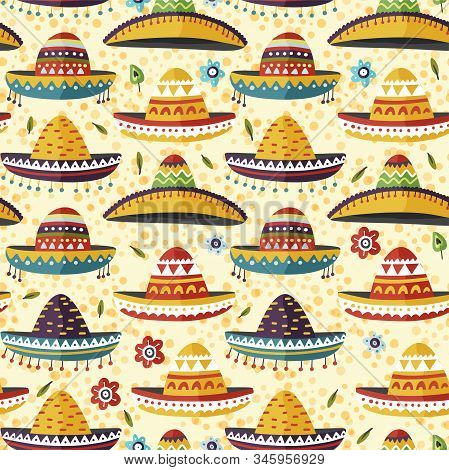 Sombrero Hat Mexican Vector Background. Cartoon Flat Seamless Pattern. Cinco De Mayo Fiesta Symbol.