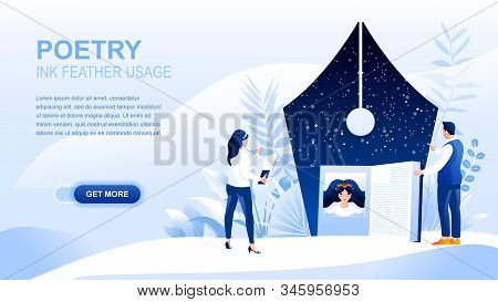 Poetry Flat Landing Page With Header, Banner Vector Template. Form Of Literature, Sound Symbolism We