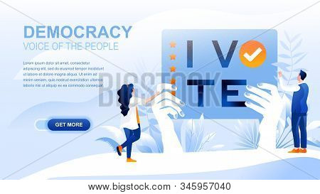 Democracy Flat Landing Page With Header, Banner Vector Template. Governmental Form, People Choosing