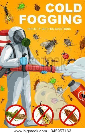 Insect And Bug Cold Fogging, Pest Control Vector Design. Exterminator With Pesticide Spray And Spray